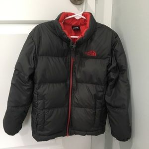 The North Face boys puffer winter coat grey red